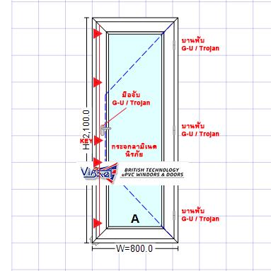 ประตูบานเปิดยูพีวีซี UPVC
