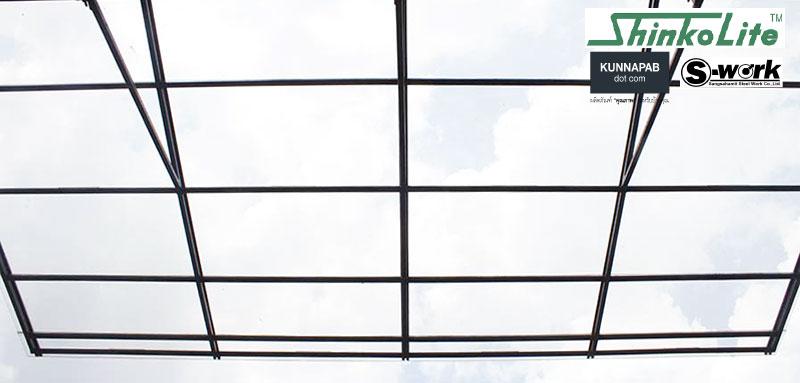 โครงสร้างเหล็กกันสาดหลังคาโปร่งแสงหลังบ้าน